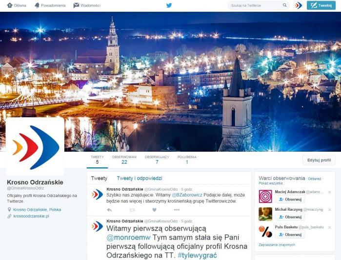 Grafika przadstawiająca konto Krosna Odrzańskiego na twitterze